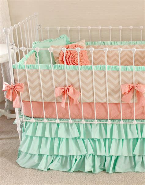Coral And Mint Crib Bedding Mint Baby Bedding Crib Bedding Baby Bedding