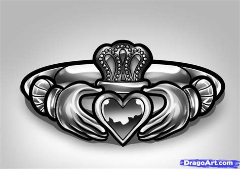 how to draw a claddagh ring claddagh ring tattoo step by
