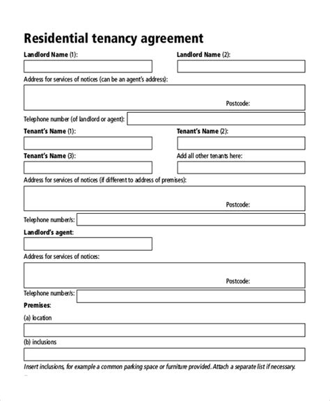 sle tenancy agreement form 8 free documents in pdf doc