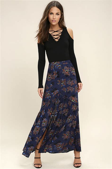 lovely navy blue floral print skirt maxi skirt mermaid