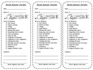 print this weekly behavior checklist for students balance