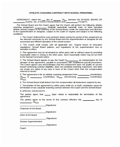 coaching contracts templates 6 coaching contracts templates eypaw templatesz234