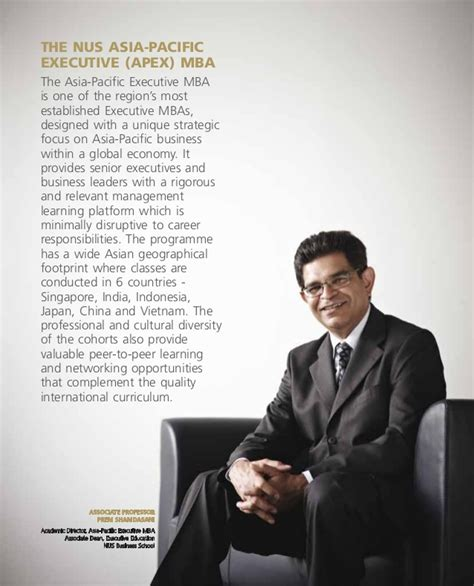 Nus Mba Requirements by Nus Asia Pacific Executive Mba Brochure