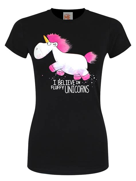 T Shirt Black Despicable Me despicable me i believe in fluffy unicorns black t
