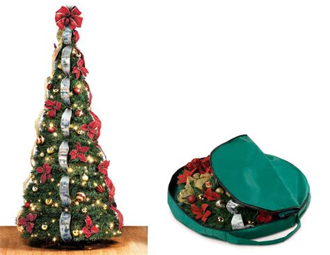 qvc pop up pre lite decorated christmas tree instant pop up tree the green