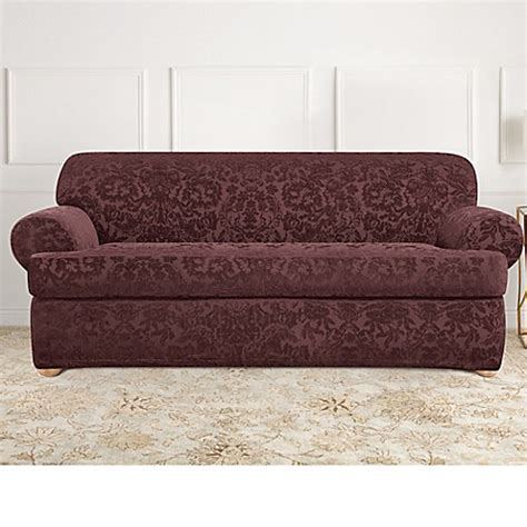 bed bath beyond slipcovers sure fit 174 stretch jacquard t cushion 2 piece sofa