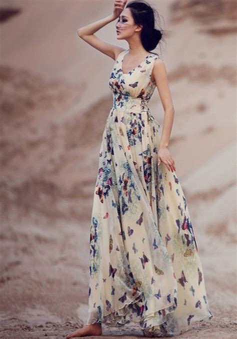 New Produk 43511 Dress Butterfly beige butterfly print sleeveless bohemian chiffon maxi