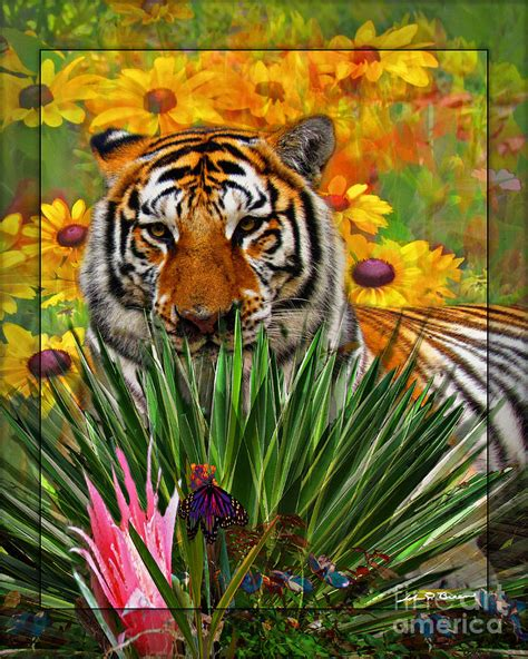 Tigers Garden by Garden Tiger Painting By Breen