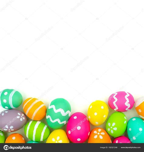 colorful easter eggs colorful easter egg bottom border white background stock