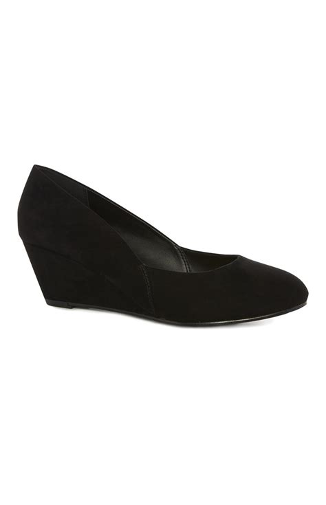 black imitation suede wide fit wedge is available for you