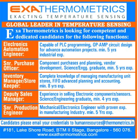 pcb design jobs abroad jobs in exa thermometrics india pvt ltd vacancies in exa
