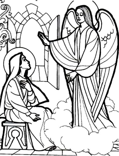 holy spirit and gabriel the angel appears to mary coloring