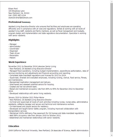 Assisted Living Coordinator Sle Resume by Assisted Living Executive Director Resume Template Best Design Tips Myperfectresume