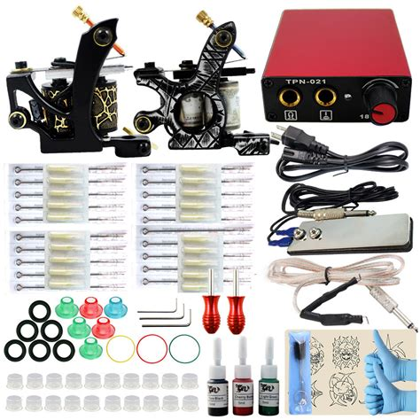 tattoo en kit professionele tattoo kit 2 tattoo machine gun voeding 3