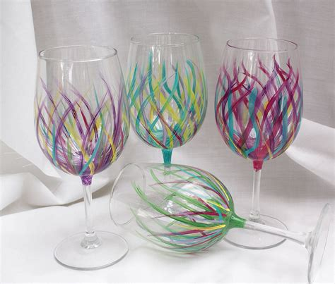 wine glass painting affordable handpainted wine glasses wedding by