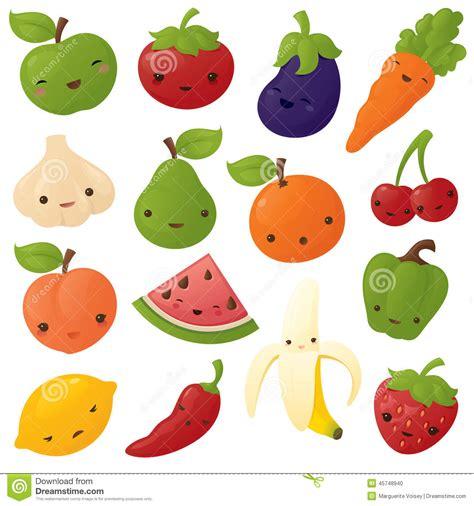 imagenes kawaii frutas fruta y verdura de kawaii ilustraci 243 n del vector