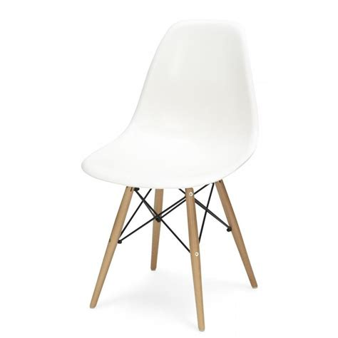 White Chair by Charles Eames Style Cool White Plastic Retro Side Chair