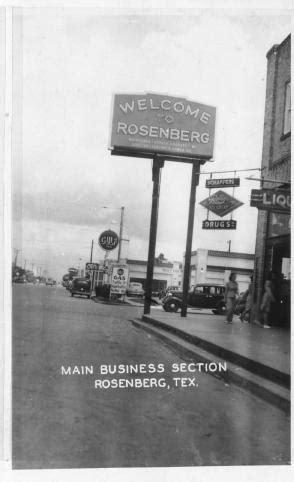 "[""Welcome to Rosenberg"" sign in downtown Rosenberg, TX"