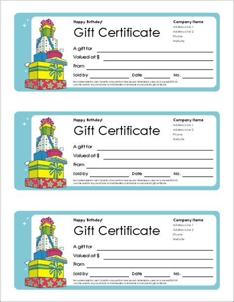 gift certificate template for word birthday gift certificate templates free