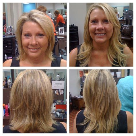 hair extensions that are already layered before and after extensions on blonde short hair long hair