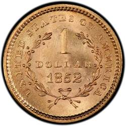 1852 liberty head gold 1 coin values and prices past
