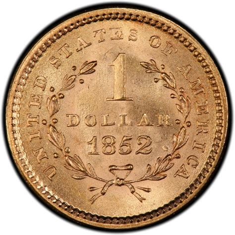 1852 liberty head gold 1 coin values and prices past sales coinvalues com