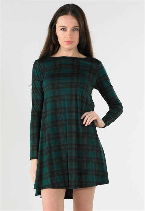 Bottle Green Tartan Swing Dress Missrebel