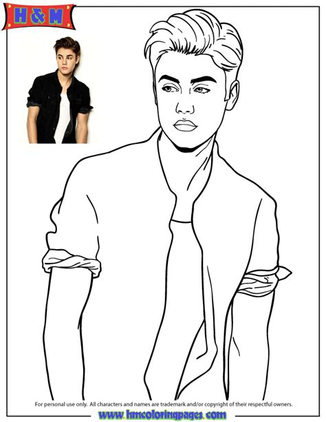 Justin Bieber In Shirt Posing Coloring Page H M Cool Shirt Coloring Pages
