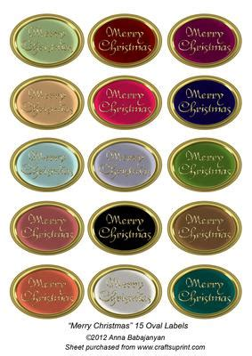merry christmas  oval labels cup craftsuprint