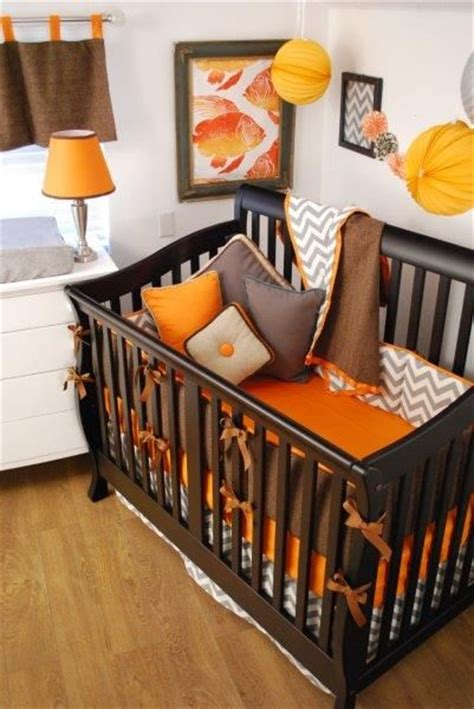 Brown And Orange Crib Bedding Orange Brown And Grey Chevron Crib Bedding Orange In The Nursery Pinterest Herringbone