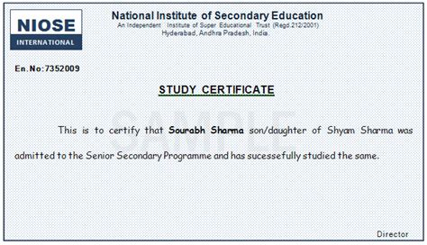 Study Certificate Letter Writing National Institute Of Secondary Education