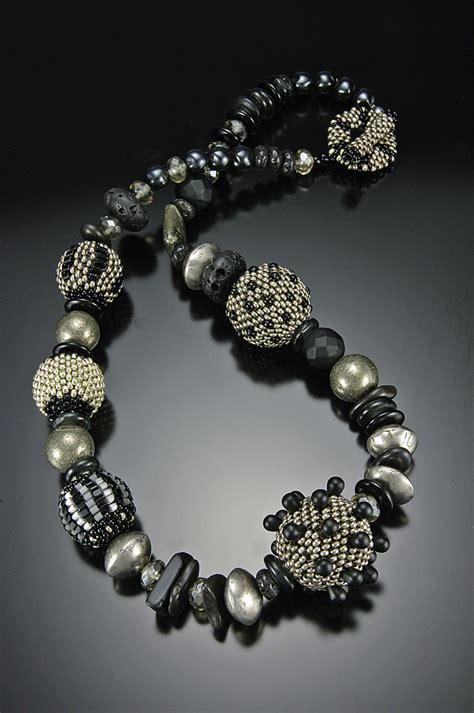 beaded bead necklace black silver julie powell design