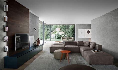 Superbe Decoration Salon Mauve Et Gris #9: Salon-moderne-meuble-télé-couleurs-foncées-peinture-canapé-gris.jpg