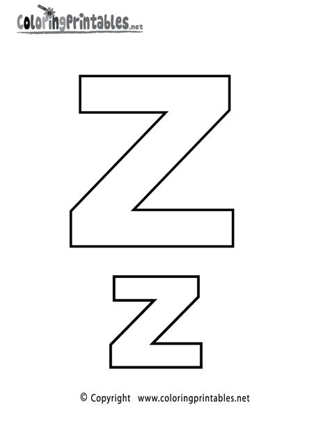 Alphabet Letter Z Coloring Page A Free English Coloring Free Printable Z Coloring Pages