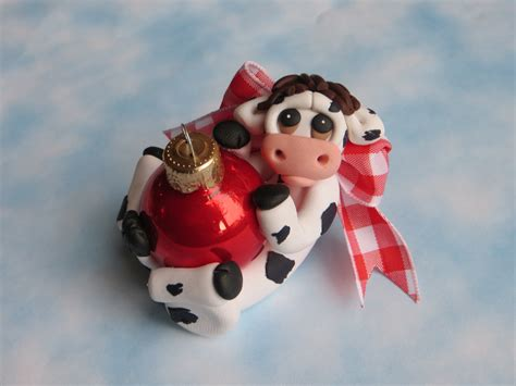 cow christmas ornament polymer clay figurine