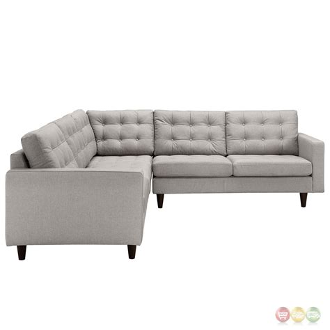 Empress 3 Piece Button Tufted Upholstered Sectional Sofa Light Gray Sectional Sofa