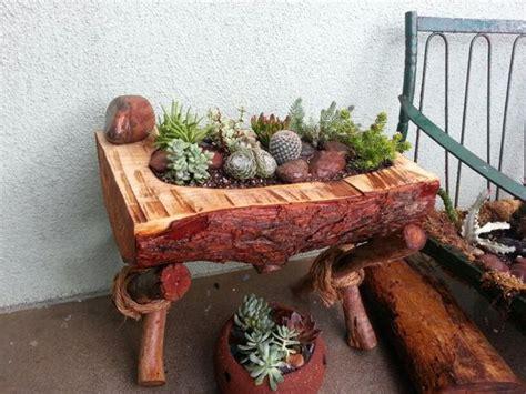 Planters Logs And Log Planter On Pinterest Log Planter Box