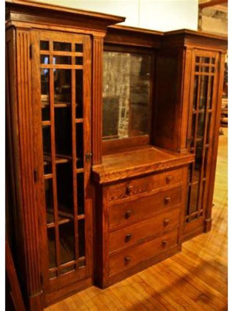 mission or craftsman style oak wood interior sideboard