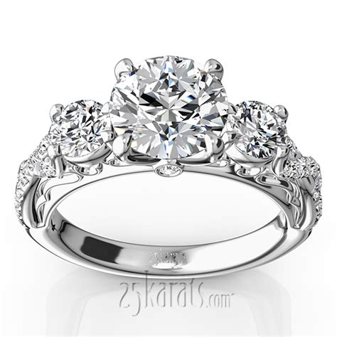 Twist Shank Three Stone Diamond Engagement Ring (1.00 ct. t.w.)