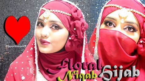 hijab tutorial with niqab bridal wedding hijab tutorial with niqab floral nhs