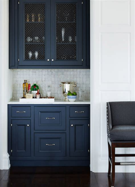 Navy Kitchen Cabinets | navy blue cabinets transitional kitchen planning and