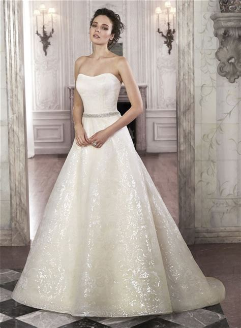 sparkly a line strapless sequin wedding dress with