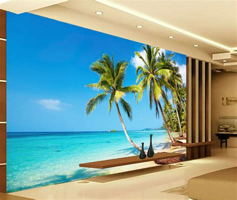 Custom 3d Photo Wallpaper Seascape Palm Wall Covering Mural Roll popular palm buy cheap palm lots from china palm suppliers on aliexpress