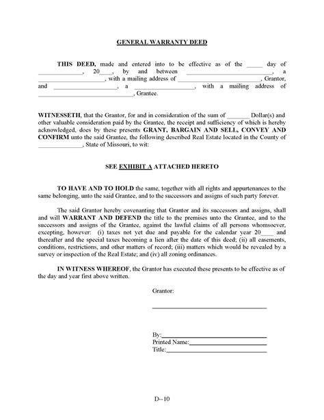 printable quit claim deed missouri missouri general warranty deed form deed forms deed forms