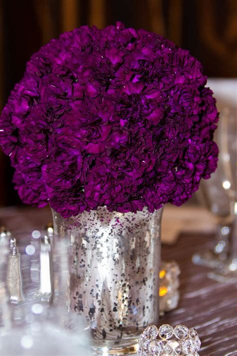 Flowers In Vases For Centerpieces Vegas Hotel Rooftop Purple And Silver Wedding