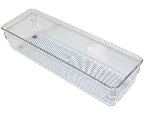 narrow clear plastic drawer organizer medium in drawer bins