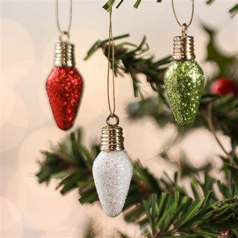 miniature glitter light bulb ornaments christmas
