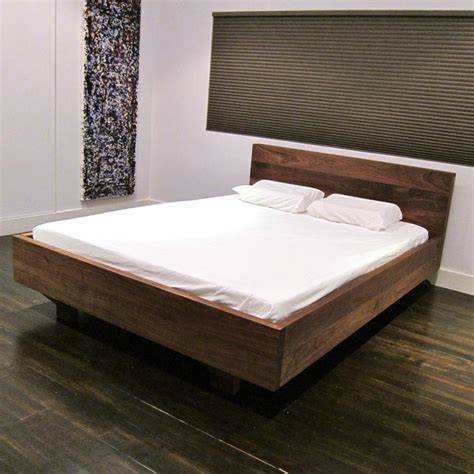 floating walnut platform bed modern platform beds