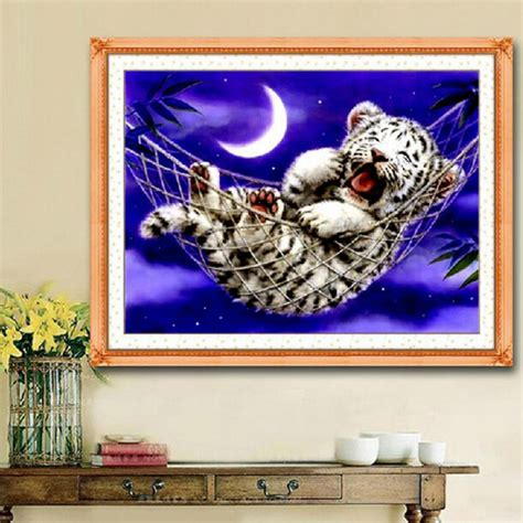 buy 44x33cm diy cross stitch kit embroidery baby tiger