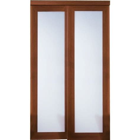 Glass Sliding Closet Door Truporte 48 In X 80 In 2000 Series Cherry 1 Lite Tempered Frosted Glass Composite Sliding Door
